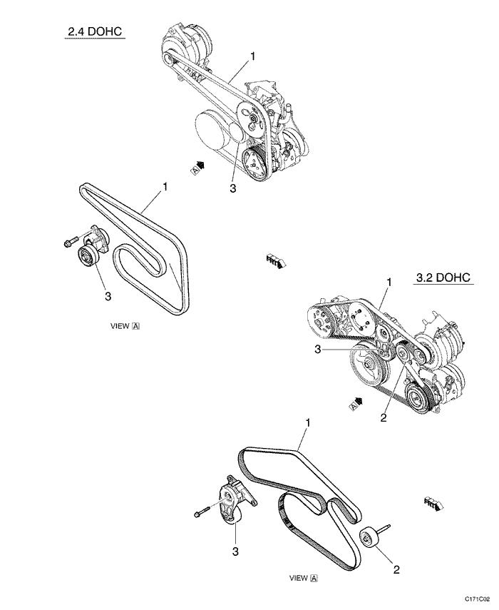 Ремень генератора шевроле каптива 2.4 схема
