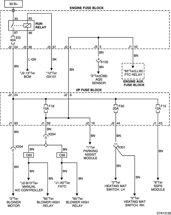 Схема распределения электроэнергии.  Расположение блока предохранителей (двигатель) .